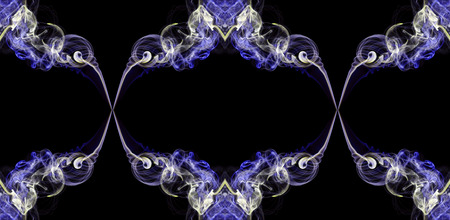 Violet and ecru abstract twisted smoke isolated on black background, formed in circles, projected as an infinity loop