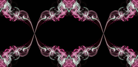 Pink, green and white abstract twisted smoke isolated on black background, formed in circles, projected as an infinity loop Stock Photo