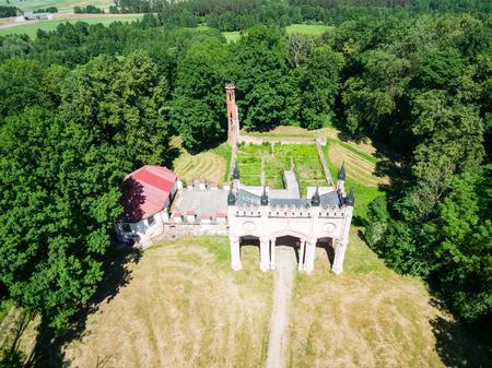 Aerial view of Pacs palace, Dowspuda, Poland Banco de Imagens