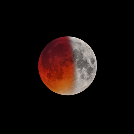 Beginning of Super Bloody Moon full eclipse