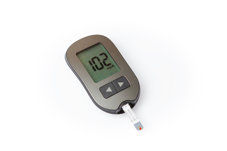 Glucometer with good blood sugar result isolated on white background Zdjęcie Seryjne