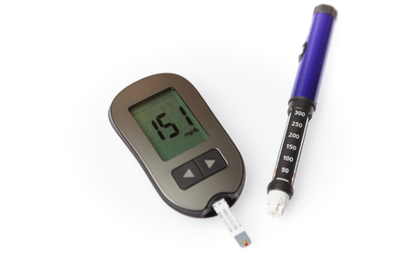 Danger of hyperglycemia, glucometer with high blood sugar and pen injector isolated on white background