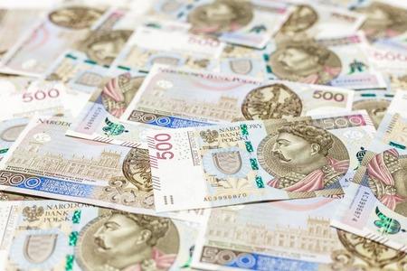 500 PLN banknotes background Stock Photo
