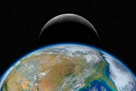Planet Earth and Moon against dark starry sky background
