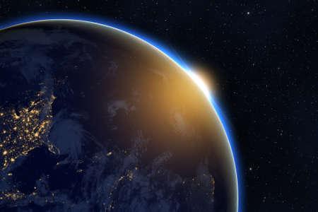 Rising sun over planet Earth against dark starry sky background