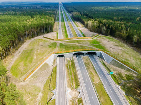 Expressway with ecoduct crossing - bridge over a motorway that allows wildlife to safely cross over the road, aerial top down view Standard-Bild