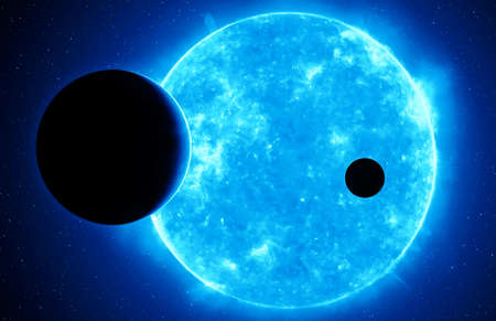 Two exoplanets against blue dwarf