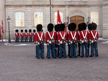 DENMARK COPENHAGEN _Queen Margrethe II lives guard ,guard change at Amalienborg Palace  1 Jan. 201  Editorial
