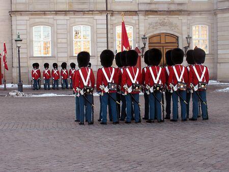 DENMARK COPENHAGEN _Queen Margrethe II lives guard ,guard change at Amalienborg Palace  1 Jan. 201  Editorial