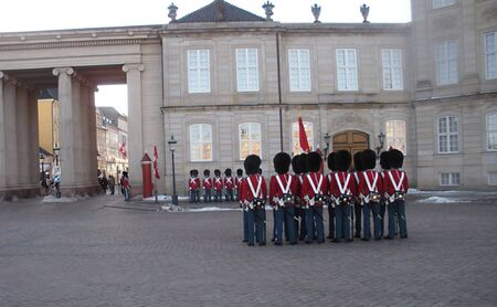 editoiral: DENMARK COPENHAGEN _Queen Margrethe II lives guard ,guard change at Amalienborg Palace  1 Jan. 201  Editorial