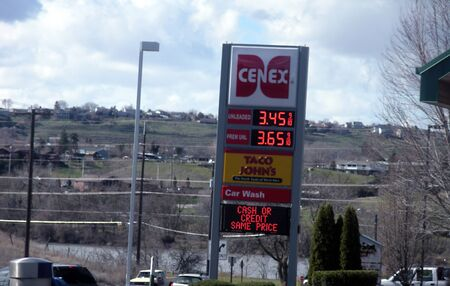 editoiral: LEWISTONIDAHOUSA _ High gasoline price 3.45 unleaded and 3.65 prem.unld at Cenex Gasoline station 17 March 2011