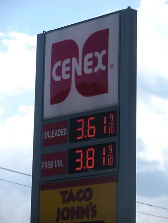 apri: LEWISTONIDAHO STATE USA _ Gasoline tan and price at cenex gas station 9 Apri l2011