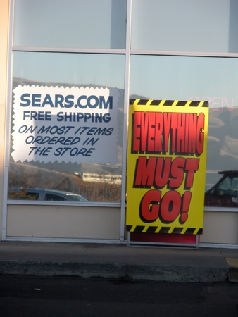 sears: LEWISTONIDAHO STATE USA _ Every thing must go message on billboard beacuse Sears closing store at Lewiston Mall ,from 11 March 2012 , Today 6 February 2012