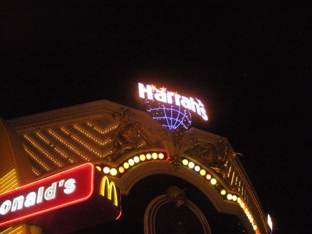LAS VEGAS  NEVADA  USA _ Hilton hotel time share and  fast food and harrah casina  20 March 2012