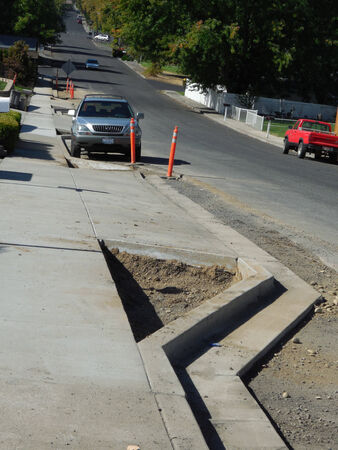 LEWISTON  IDAHO STATE USA- Rood construction project on 14 th street in valley          5 OCTIBE 2014         Editorial