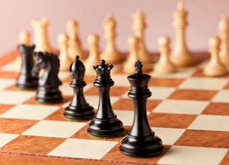 ebony wood: A line of luxurious black Staunton chess pieces carved in genuine ebony wood standing on elm burl and birds eye maple superior traditional chessboard facing the White army of chess pieces before game