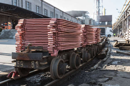 Copper bars in the smelter loaded for rail transport