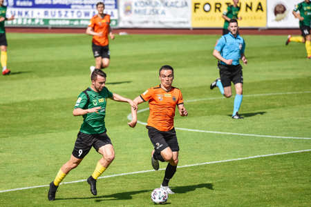 LUBIN, POLAND - JUNE 16, 2020: Match Polish football Fortuna 1. League between Chrobry Glogow vs GKS Jastrzebie 0:0. In action Petr Galuska (L) and Szymon Drewniak (R). Editöryel