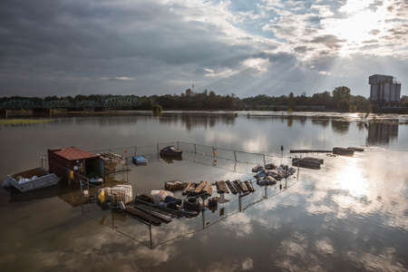 The backyard of the building was flooded with water due to the flooding of the Odra River in Poland
