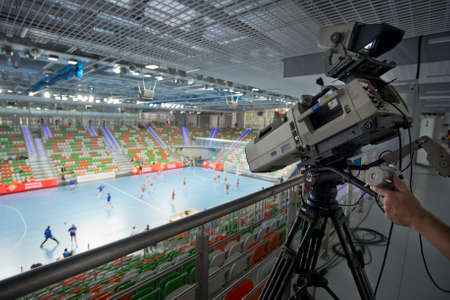 Tv camera in the sport hall