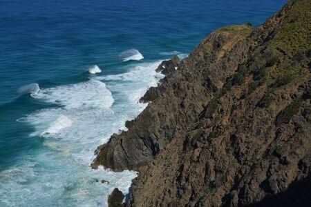 shore line: rock shore line and waves