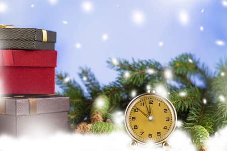2021 Happy New. Chinese New Year. Postcard. Year of the steel bull. By horoscope I am. 2021 Christmas. Clock and New Year tree, gift. Snow. Copyspace