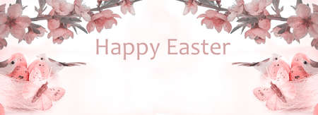 Easter eggs. Happy Easter card. Multicolored Easter eggs. Easter. Easter background. Easter eggs. Easter symbol. Easter card. Butterflies. Banner. Copy space Banque d'images