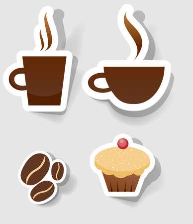 cafe y pastel: un conjunto de adhesivos para anunciar el caf�