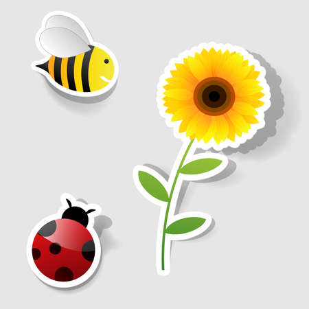 vector set of icons on the nature theme