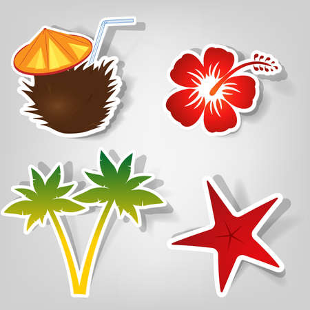 set of design elements to advertise a beach party Vector