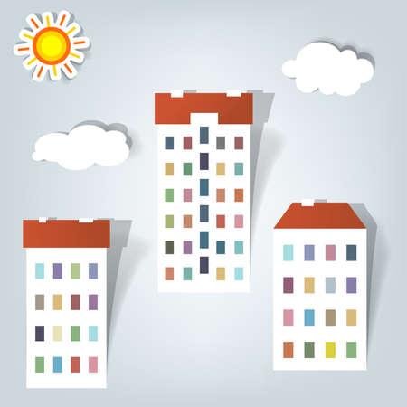 multi storey: a set of elements design for advertising real estate services Illustration