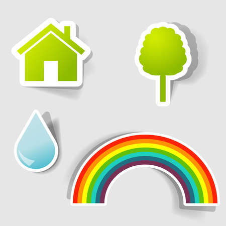 set of icons for advertising environment protection