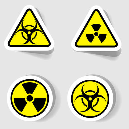 caution chemistry: signs of biological and radioactive contamination of circular and triangular shapes Illustration