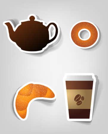 bagels: set of design elements to advertise cafe