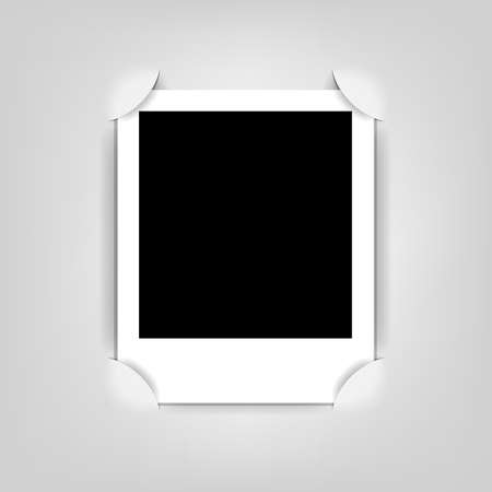 takes: empty photo frame, realistic cut, takes the background color
