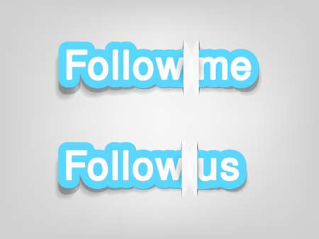 follow me: Follow me and follow us; realistic cut, takes the background color