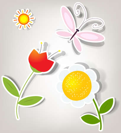 set of icons on the nature theme