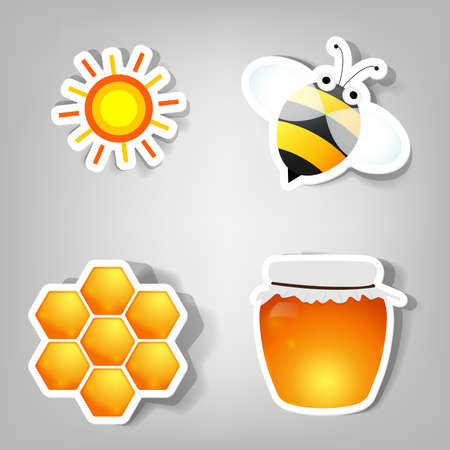 set of design elements for advertising beekeeping products Illustration