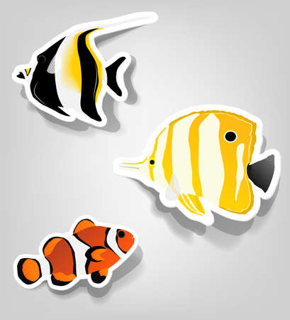 a set of tropical fish for advertising diving Illustration