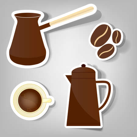 a set of stickers to advertise coffee Vector