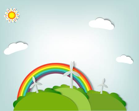 stylized vector landscape with windmills, a rainbow,sun and clouds Illustration