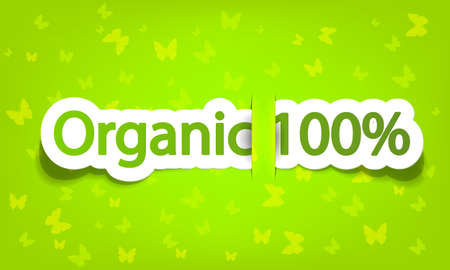 vector organic 100; realistic cut, takes the background color Stock Vector - 9946137