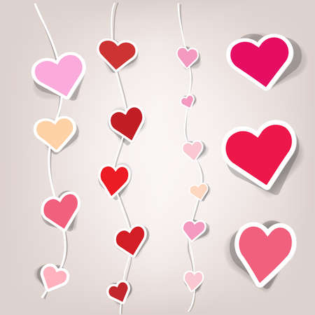 sets of stickers in the form of hearts