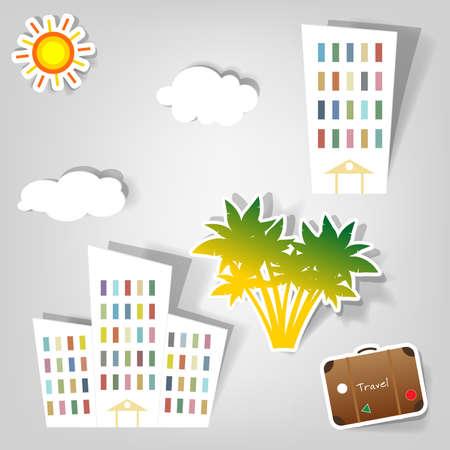 작은 숲: 여행 서비스를 광고 할 수있는 디자인 요소의 집합 일러스트