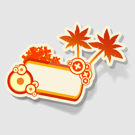 bright beach sticker with space for text