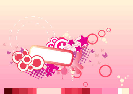 assemblage: pink abstract illustration of the circles, crosses, butterflies and stars