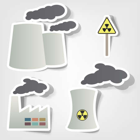 nuclear symbol icon: set of design elements to advertise environmental protection