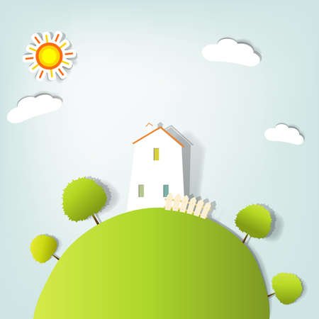 gestileerd landschap met een huis op de heuvel
