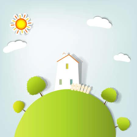 case colorate: paesaggio stilizzato con una casa sulla collina Vettoriali
