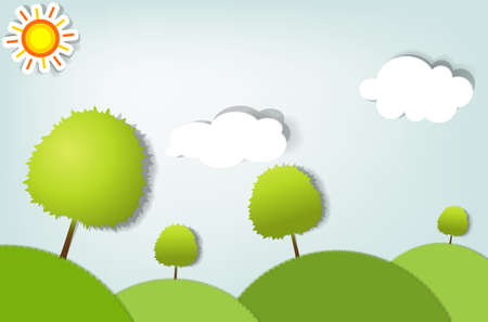 vector zomer gestileerde landschap met bomen Stock Illustratie